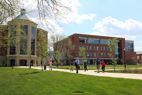 Image of buildings on campus. Link to facilities and student life priority.