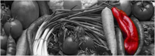 DP BW vegetables with red