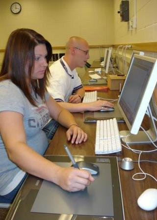Students work in the University's Mac lab.