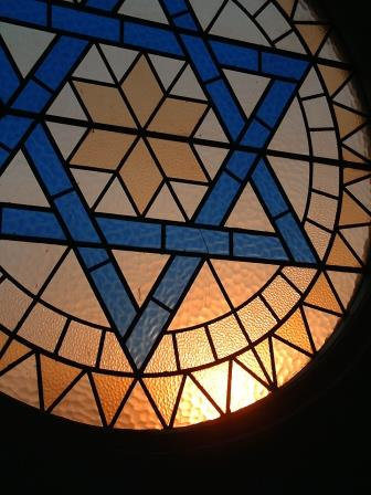 Stained glass window with Star of David
