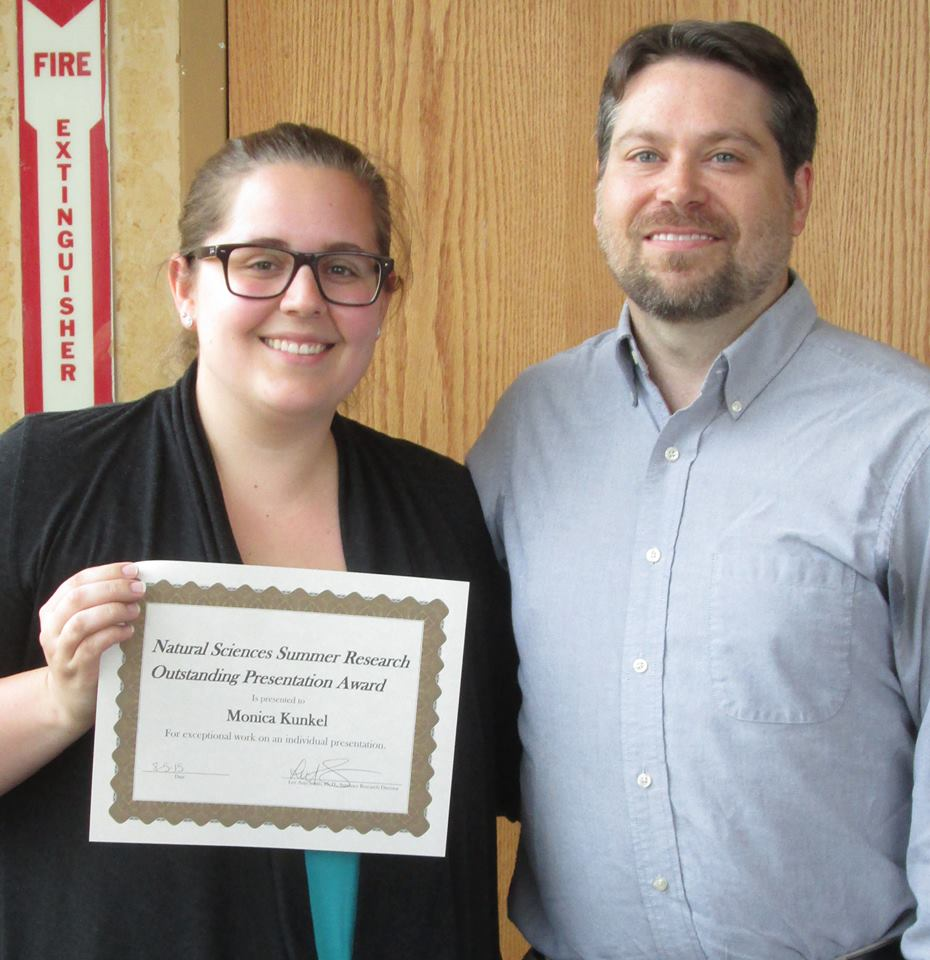 Monica Kunkel - Natural Science Summer Research Outstanding Presentation Award