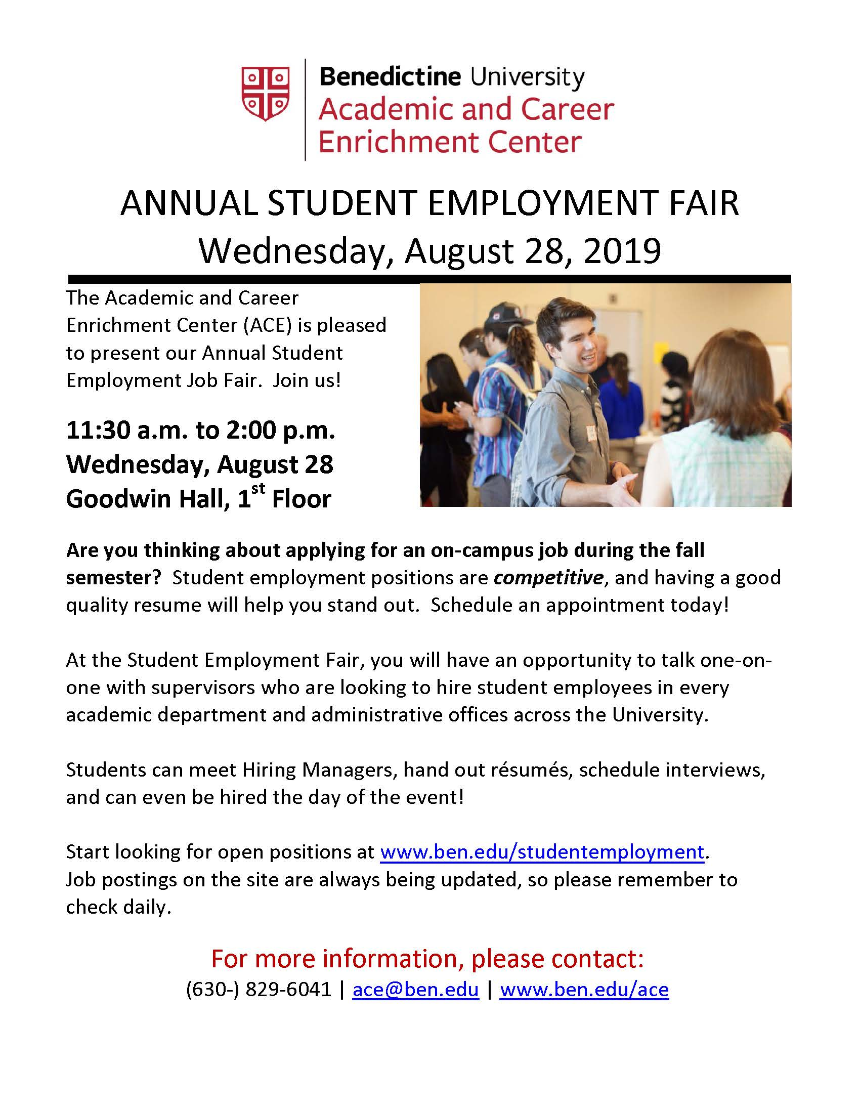 STUDENT - ACE Annual Student Employment Fair 2019