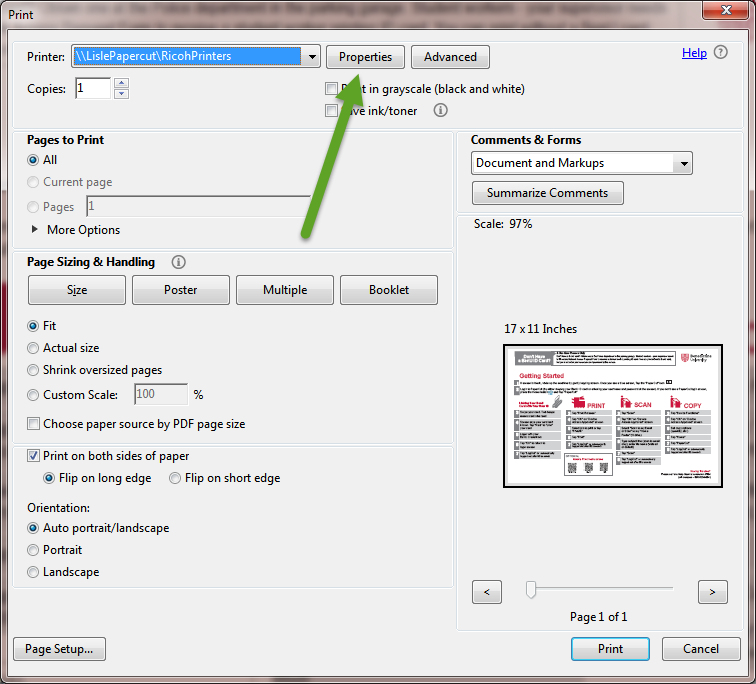 Image of a standard Windows Print Dialog box