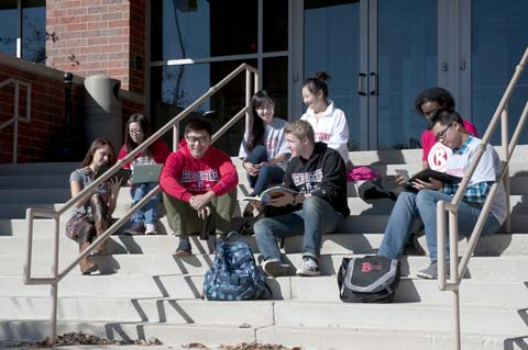 Students on Birck Steps