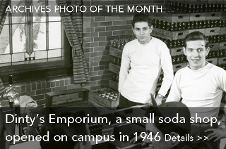 Archives Photo of the Month: Dinty's Emporium, a small soda shop, opened on campus in 1946