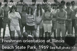 Archives Photo of the Month: Freshmen orientation at Illinois Beach State Park, 1969