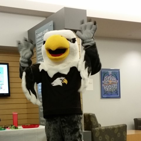 Ernie the Eagle in the Library