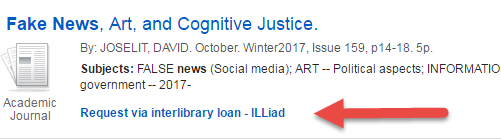 Screenshot of Request via interlibrary loan link