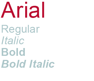 Arial type sample showing regular, italic, bold and bold italic styles