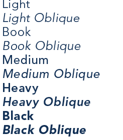 Avenir weights from light to black, with obliques