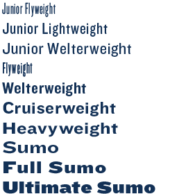 Knockout weights from light and condensed to black and expanded