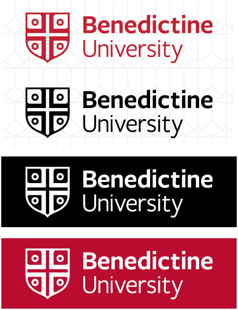 Master brand lockup one-color examples in red, black and white