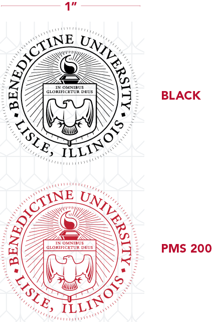 Diagram showing University seal sizes and colors