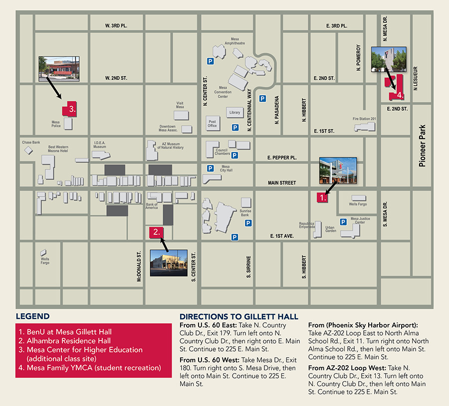 Benedictine University Mesa campus map