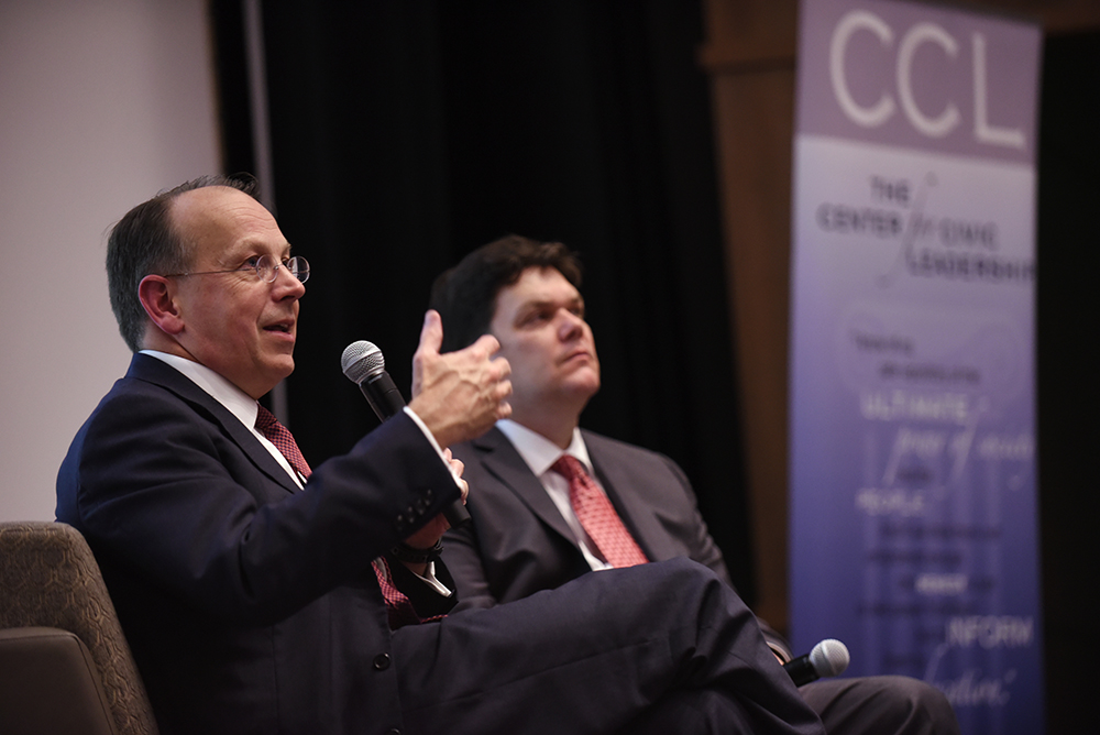 Attorney Paul Clement (pictured left) answers questions from the audience with Center for Civic Leadership Director Phil Hardy, Ph.D.