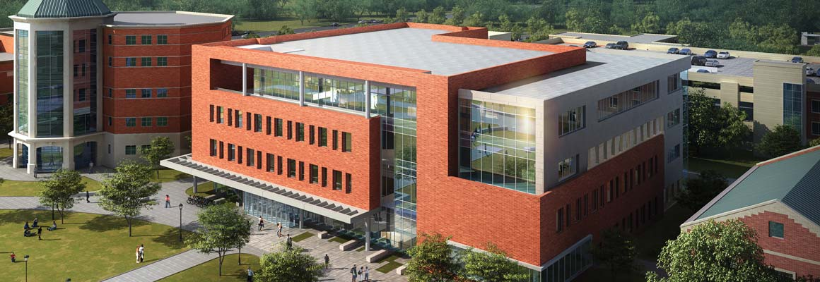 Rendering of the new Daniel L. Goodwin Hall of Business (center) where the Center for Values-Driven Leadership will be housed.