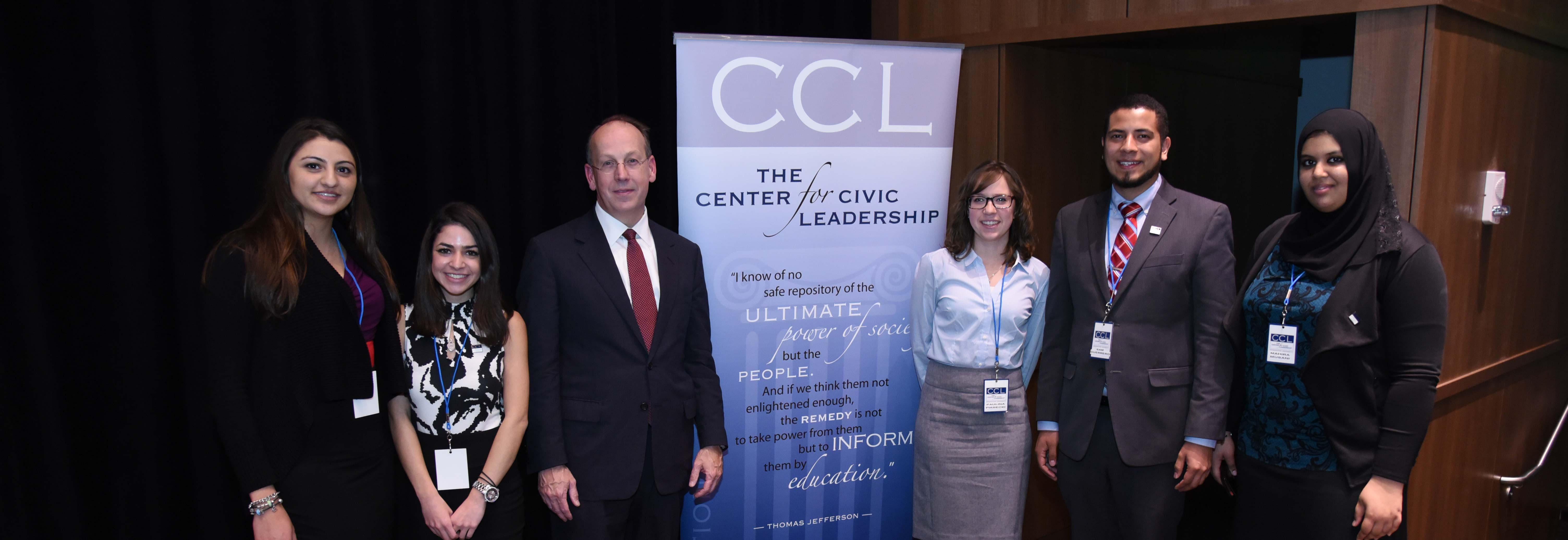 Attorney Paul Clement meets with Benedictine's Center for Civic Leadership Public Service Fellows.