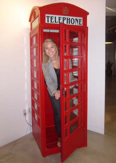 The agency (Global Team Blue) is filled with all different creative elements. The phone booth was one and it actually had a working phone in it. - Molly Morley