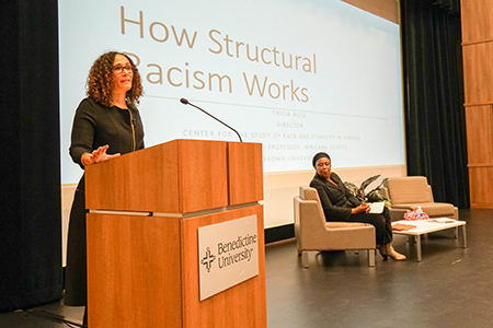 Tricia Rose, Ph.D., Chancellor's Professor of Africana Studies at Brown University and Rose Brewer, Ph.D., Morse Alumni Distinguished Professor at the University of Minnesota