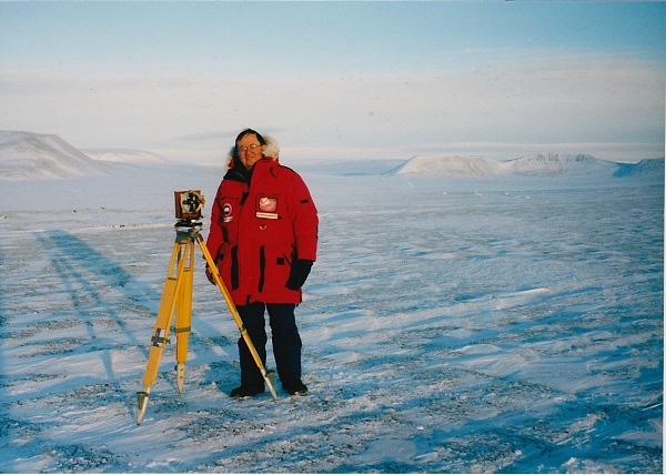 Richard Vondrak, on an expedition to the North Magnetic pole, measures the magnetic field in northern Canada on the edge of the Arctic Ocean.